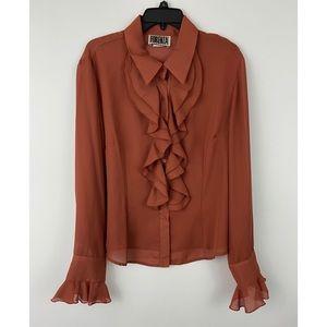 Women's Plus Rust Ruffle Collared Sheer Blouse 20